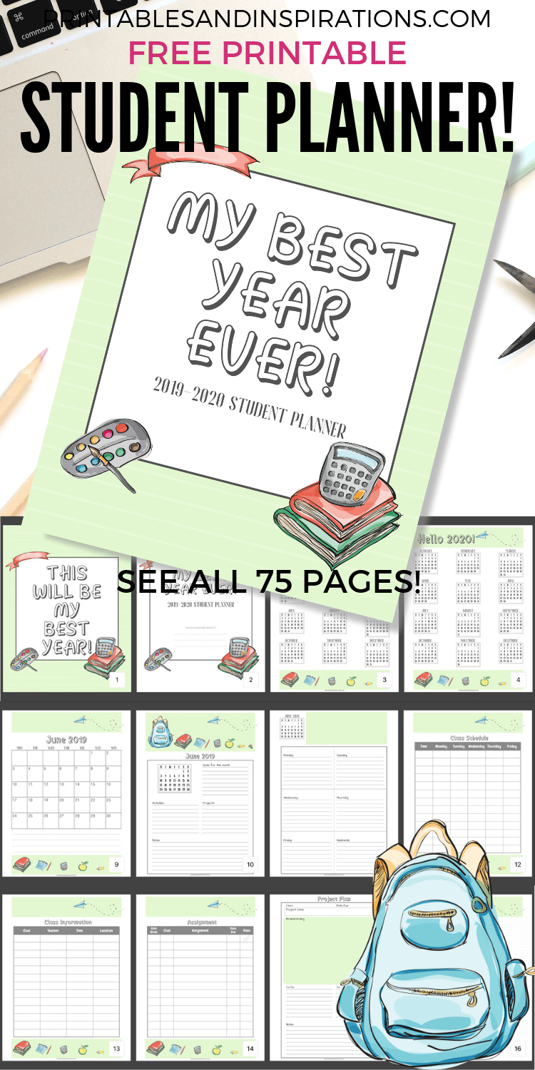 Free Student Planner Printable Binder For 2019 2020