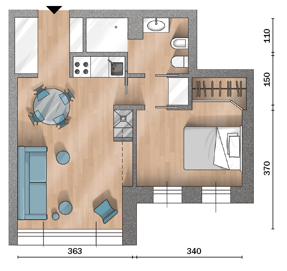 Un bilocale di 37 mq con colori soft planimetrie casa for Piantine case