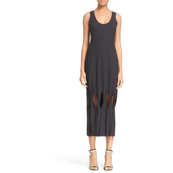 Opening Ceremony 'Glide' Twisted Panel Midi Dress ($645) ❤ liked on Polyvore featuring dresses, black, sheath cocktail dress, sheath dress, pleated dress, calf length dresses and sleeveless dress