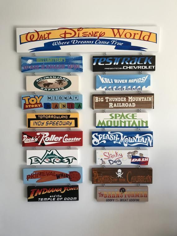 Hand painted Disney sign xl in width with 2 rows o
