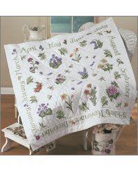 Bucilla//donna Dewberry Lap Quilt Stamped Cross Stitch Kit-year Of Flowers