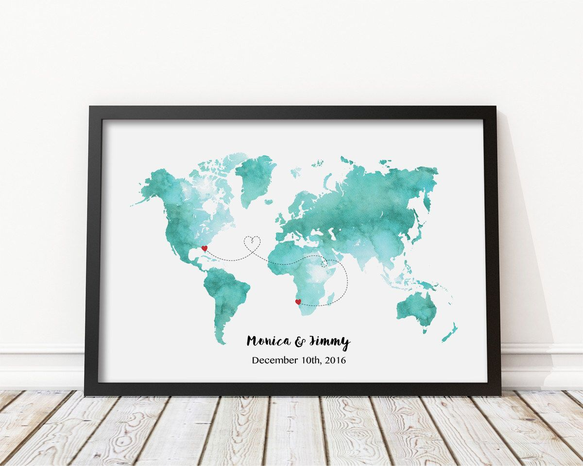 Personalize world map print mint teal watercolor printable world personalize world map print mint teal watercolor printable world map gift for couple gumiabroncs