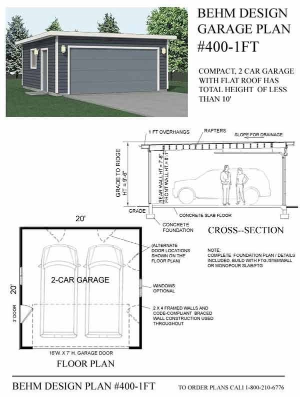 2 Car Flat Roof Garage Plan No 4001FT by Behm Design 20 x 20 – Flat Roof Garage Plans