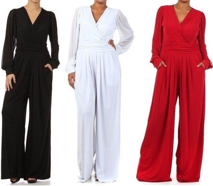 Details about Plus Women's Solid Wide Leg Dress Jumpsuit Pant Suit ...