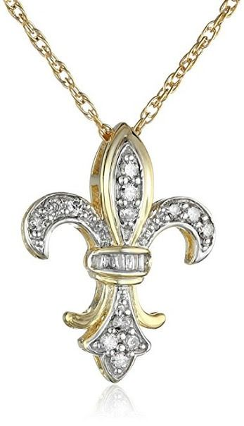 Diamond Fleur-de-Lis Pendant Necklace (1/4 Cttw, J Color, I3 Clarity)