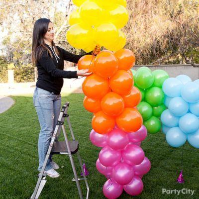 Rainbow Balloon Arch How To Party City Rainbow Balloon Arch Rainbow Balloons Party City Balloon Arch
