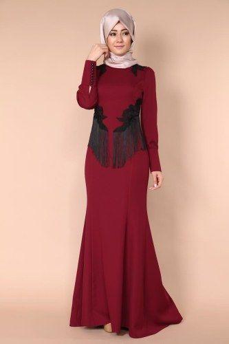 Puskullu Balik Abiye Bordo Moda Stilleri Musluman Modasi Boncuklu Elbiseler