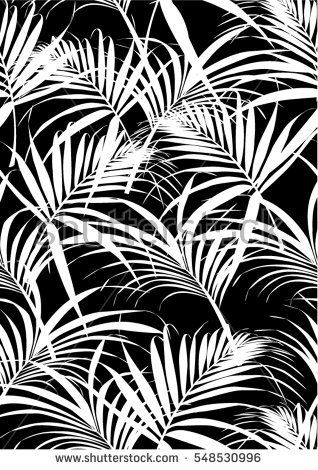 Tropical Leaves Pattern In Vector And Black Color