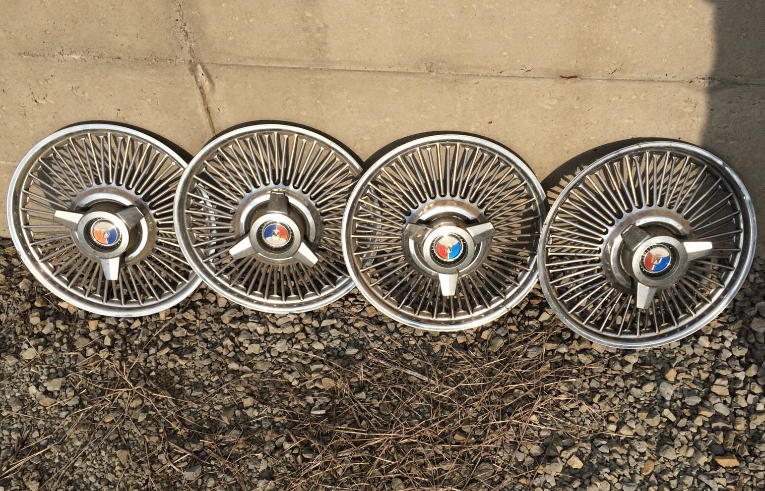 1965 1966 Mustang Wire Spinner 14 Hubcaps Set Of 4 Rare Original Ford Wiring Ebay