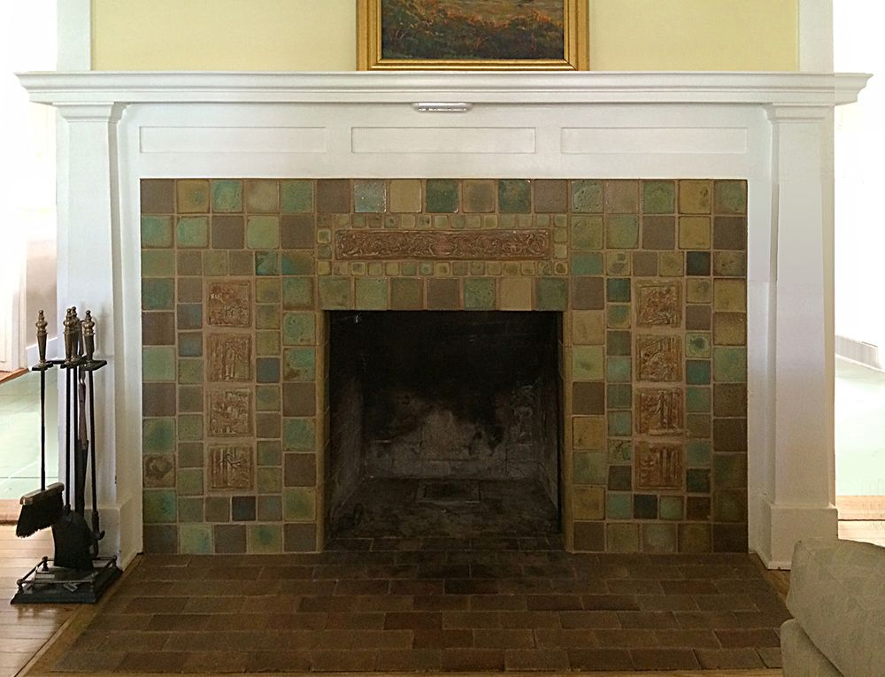 Fireplaces pasadena craftsman tile 1930s fireplace for Craftsman fireplace pictures