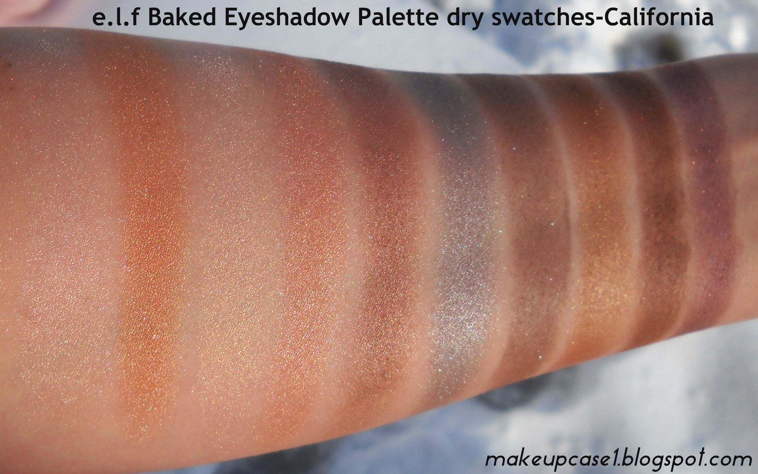e.l.f Baked Eyeshadow Palette-California-Dry Swatches.