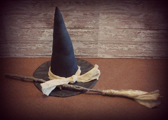 Primitive Witch Hat and Broom Halloween Decoration by ThatSallie - halloween decorations witch