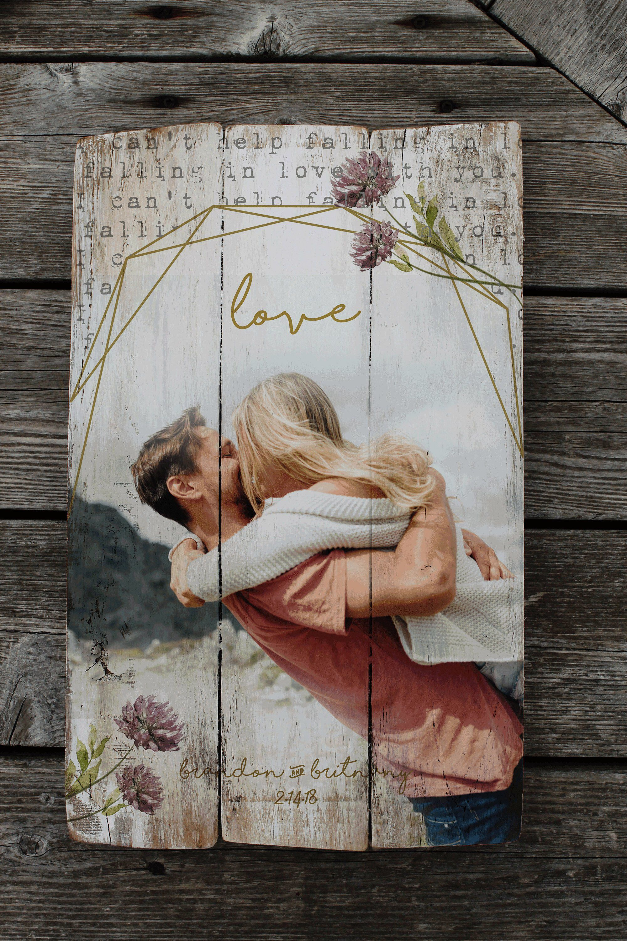 Clover - photo on wood, Personalized Wedding gift, Personalized Photo Pallet, pallet sign, Personalized engagement gift, Wedding gift,photo #personalizedwedding
