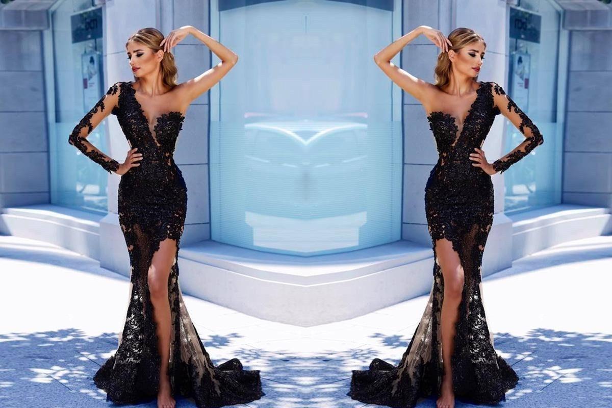 Sheathcolumn one shoulder floorlength long sleeve tulle prom dress