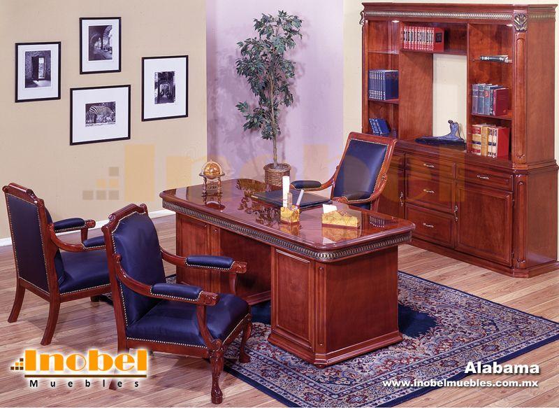 Elegante oficina estilo cl sico con acabado en color caoba for Estilos de oficinas modernas