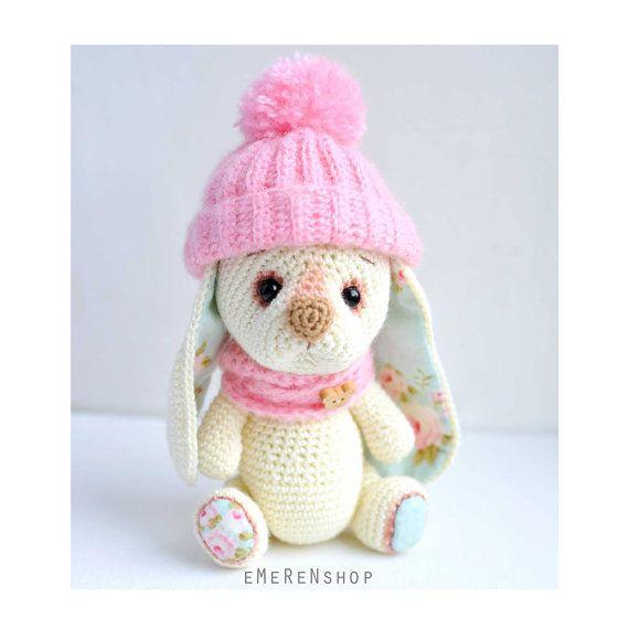 Amigurumi Bunny! Rabbit with Pink hat-Crochet Stuffed Bunny - Rabbit ...