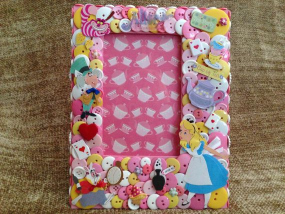 Alice in Wonderland Themed Button Picture Frame | Alice, Button art ...