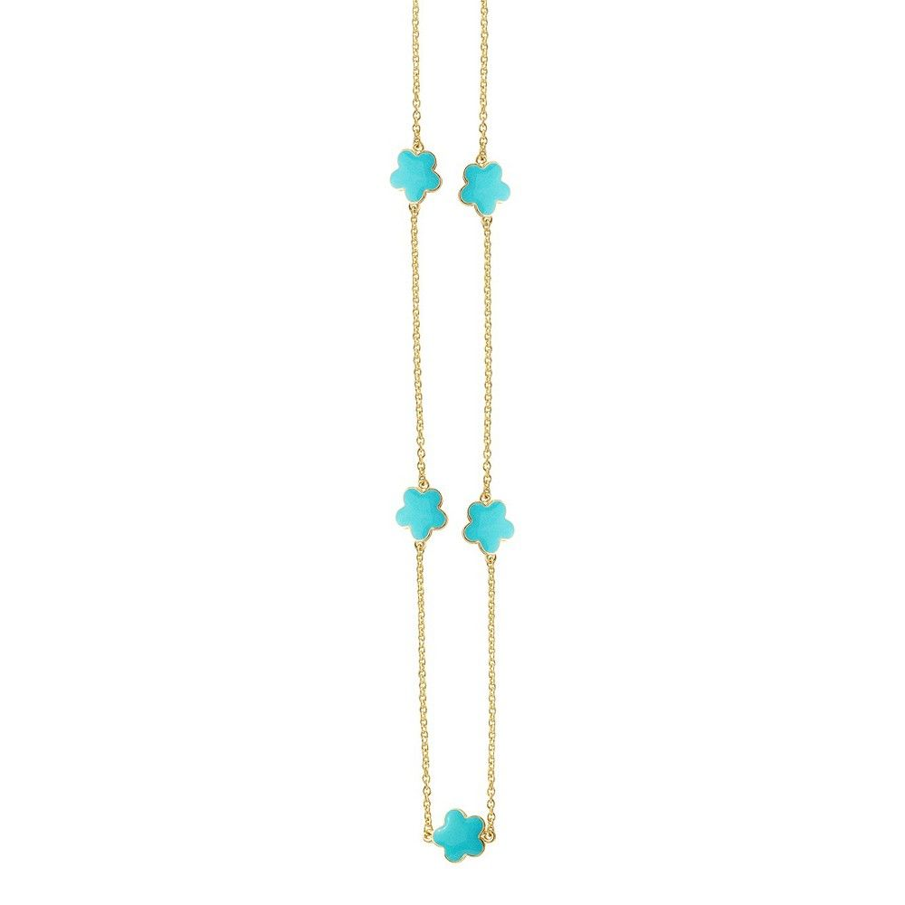 Zirconite Gold Plated Station Necklace with Enameled Daisies Turquoise - 40, Women's