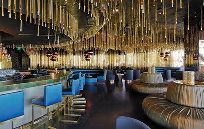 lounge, restaurant, blue and gold, | interior design - inspiration