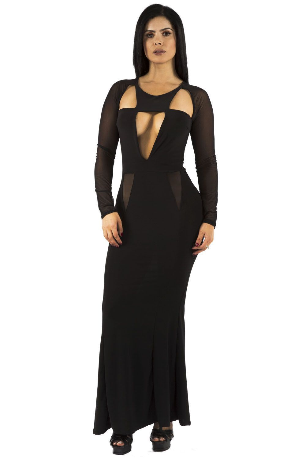 Black longsleeve mermaid style maxi dress with cut out detailing