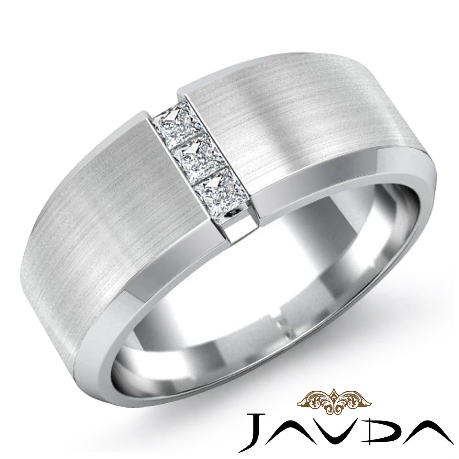 3 Stone Mens Half Wedding Band Princess Diamond Bezel Ring 14k White Gold 0 25ct Ebay