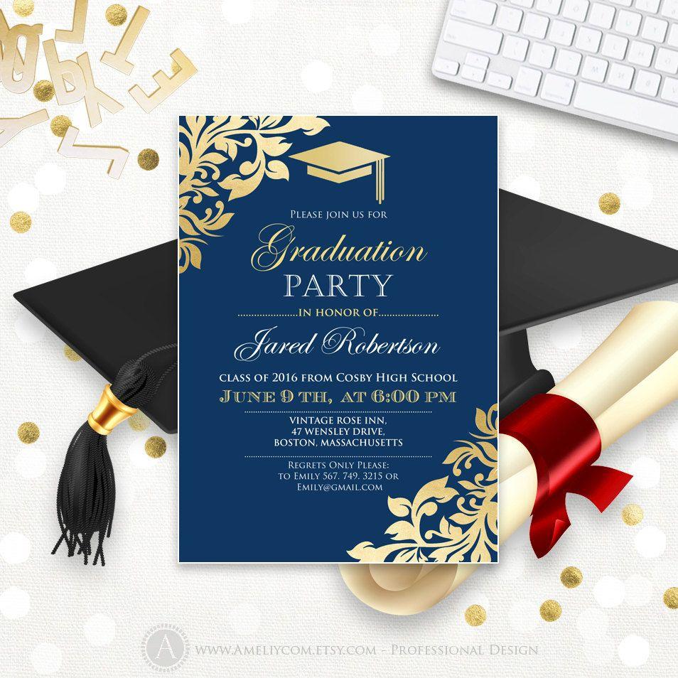 graduation announcement printable navy gold college graduation