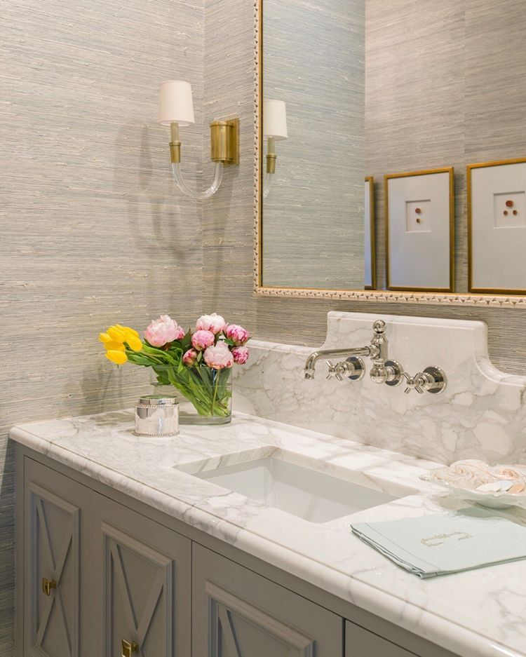 Marbleous 🙌🏻 powder bath marble grasscloth sink