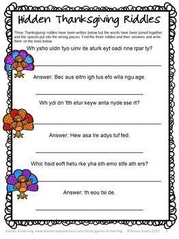FREEBIE - Thanksgiving Literacy Puzzles Freebie gives you 2 Thanksgiving word puzzles by Games 4 Learning.