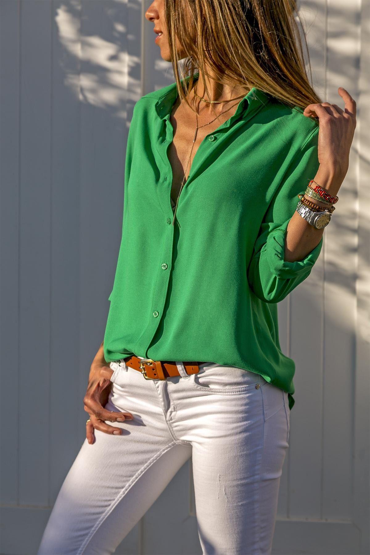d1da53b400810 Женские элегантные блузки с длинным рукавом - Интернет магазин дешевых  товаров. Интернет магазин дешевых товаров