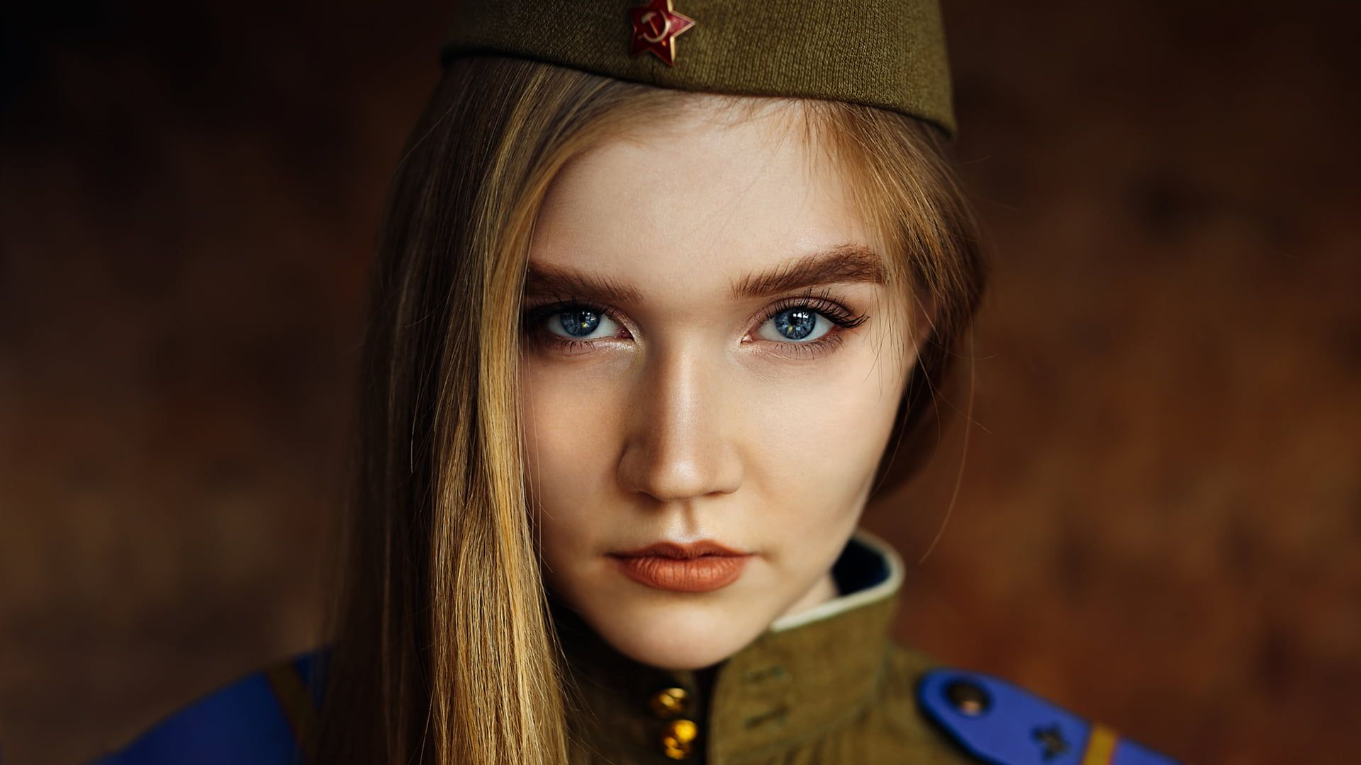 Women Blonde Face Portrait Blue Eyes Hammer And Sickle Soviet Union Uniform 1080p Wallpaper Hdwallpaper Desktop Blue Eyes Hammer And Sickle Portrait Hammer and sickle hd wallpaper