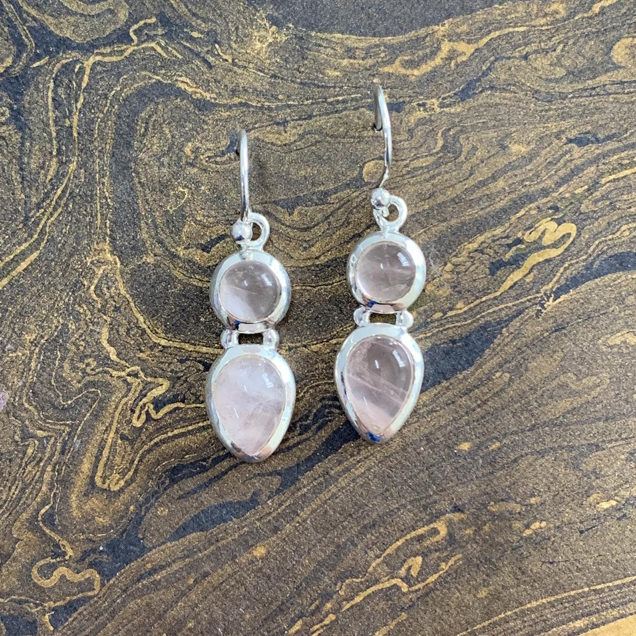 Rose Quartz Teardrop Infinity Hoop 925 Sterling Silver Dangle Earrings