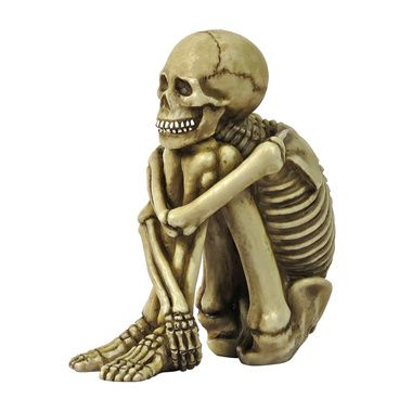 Mr Bone Jangles Skeleton Sitter Statues Set of Two WTF MATE - halloween statues