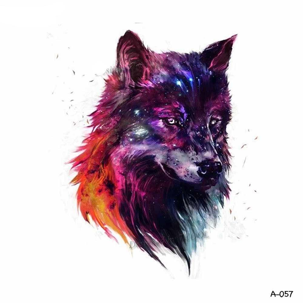 Wolf Temporary Tattoo Wolf Painting Wolf Art Galaxy Wolf