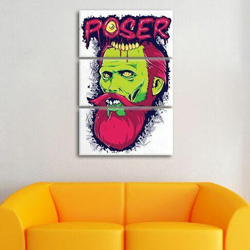 Poser 3-Piece Graphic Art on Canvas Set Pixxprint