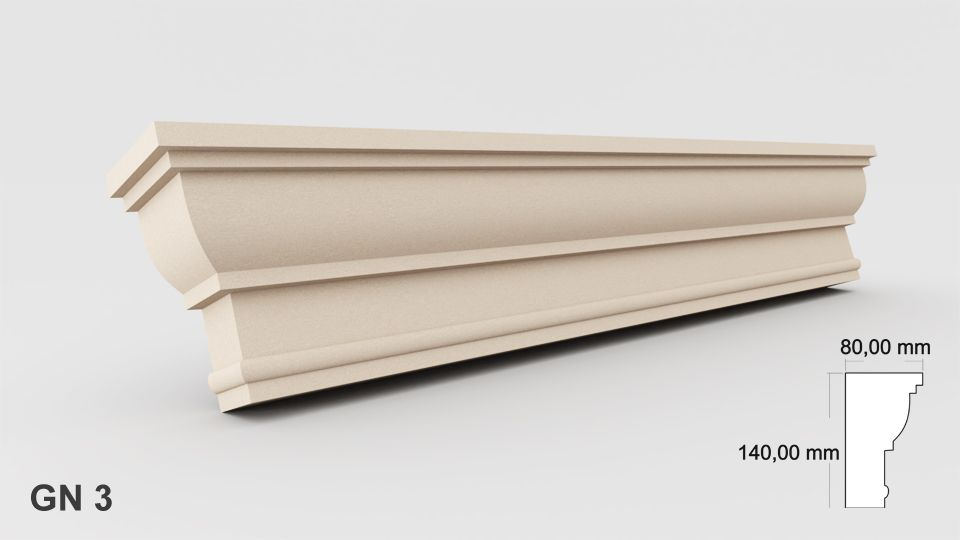 Above the window Exterior Moulding PROFILES cornices coving outside