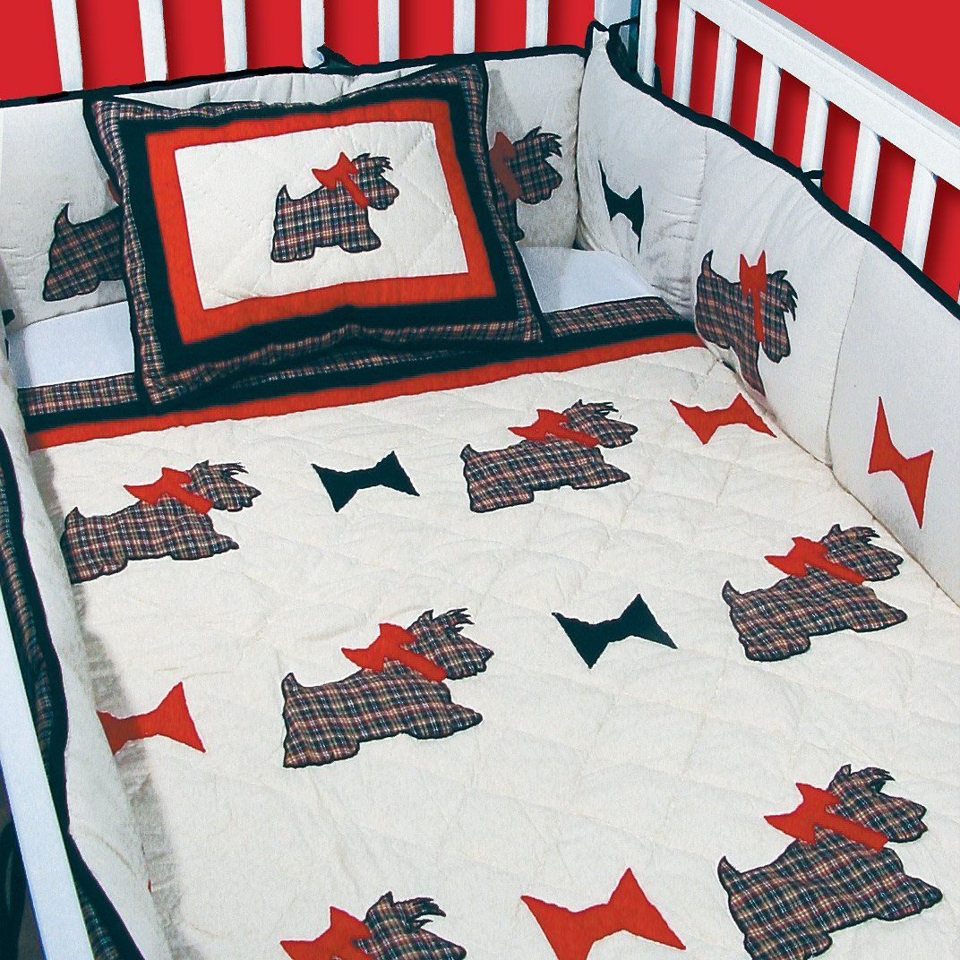 Scottie Black White and Red Plaid Quilted 6 Piece Crib Set ...