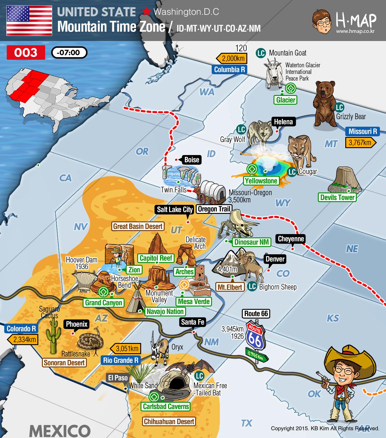 Mountain Time Zone Map (Idaho, Montana, Wyoming, Utah, Colorado ...
