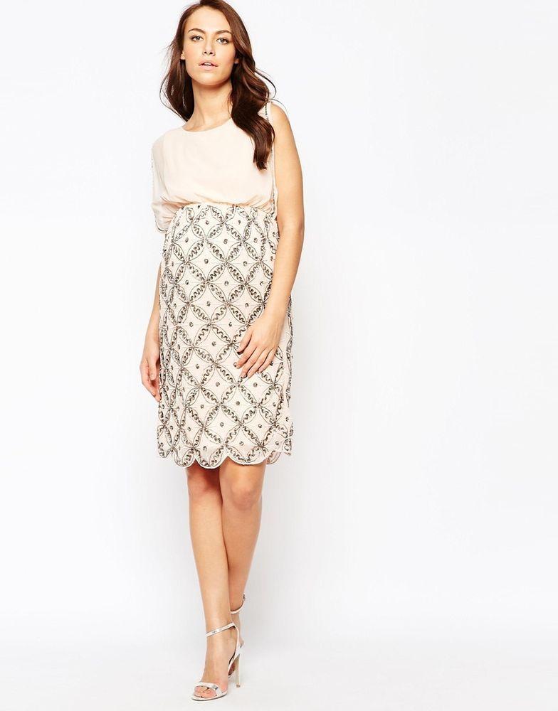 b3e45e81495d Maya Maternity Premium @ ASOS Embellished Midi Pencil Dress NUDE UK 10-EU 38