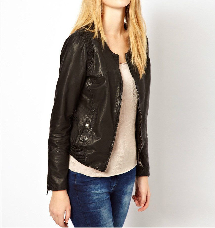 Black Biker Jacket Women Real Leather Round Neck With Front Fastening Zipper pockets