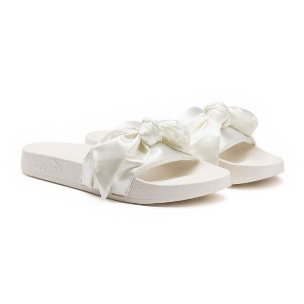 Fenty Puma By Rihanna Bow Satin Slide Sandal ($90) ❤ liked on Polyvore featuring shoes, sandals, shoes sandals, white, white flats, white platform sandals, bow sandals, white platform shoes and open toe sandals