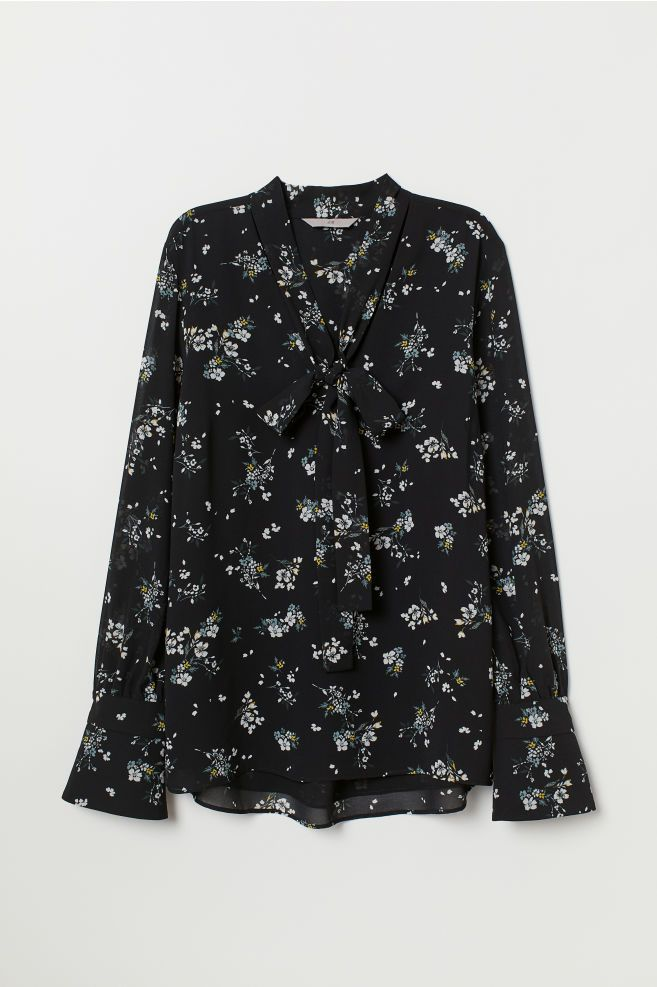82cbf27143f003 Blouse with Tie Collar - Black floral - Ladies