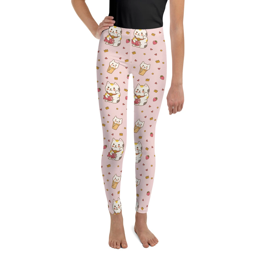 Strawberry Print Leggings with Full Ruffles  Girls Leggings  Ruffle Leggings for Girls