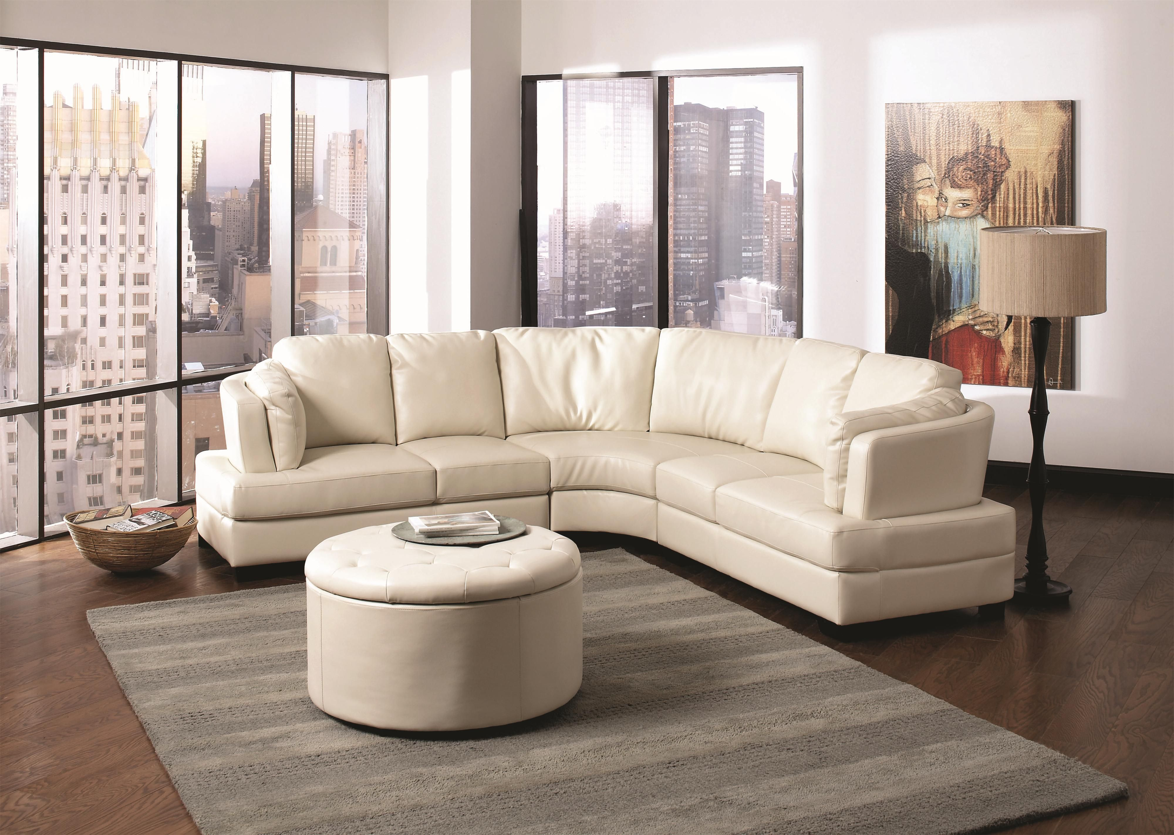 Landen Contemporary Curved Leather Sectional