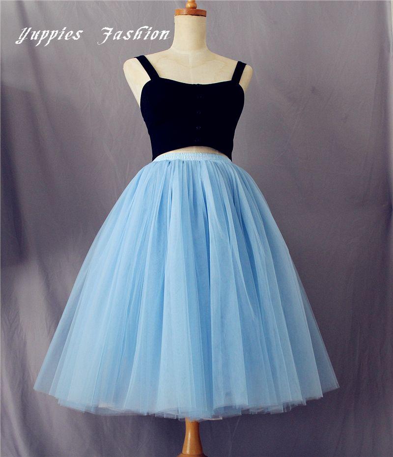 96defbe245b24 7 Layers Lake Blue Maxi Tulle Skirt 65cm Long Midi Skirts Womens Adult tutu  Pleated Faldas Saias Femininas Plus Size-in Skirts from Women s Clothing ...