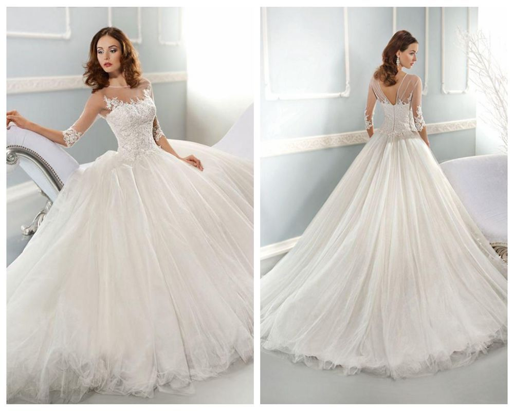 2014 New White Ivory Tulle Wedding Dress Bridal Gown Size 4 6 8 10 12 14 16