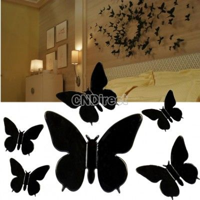 New 3D Wall Sticker Butterfly Home Decor Room Decorations Stickers Black Medium Size
