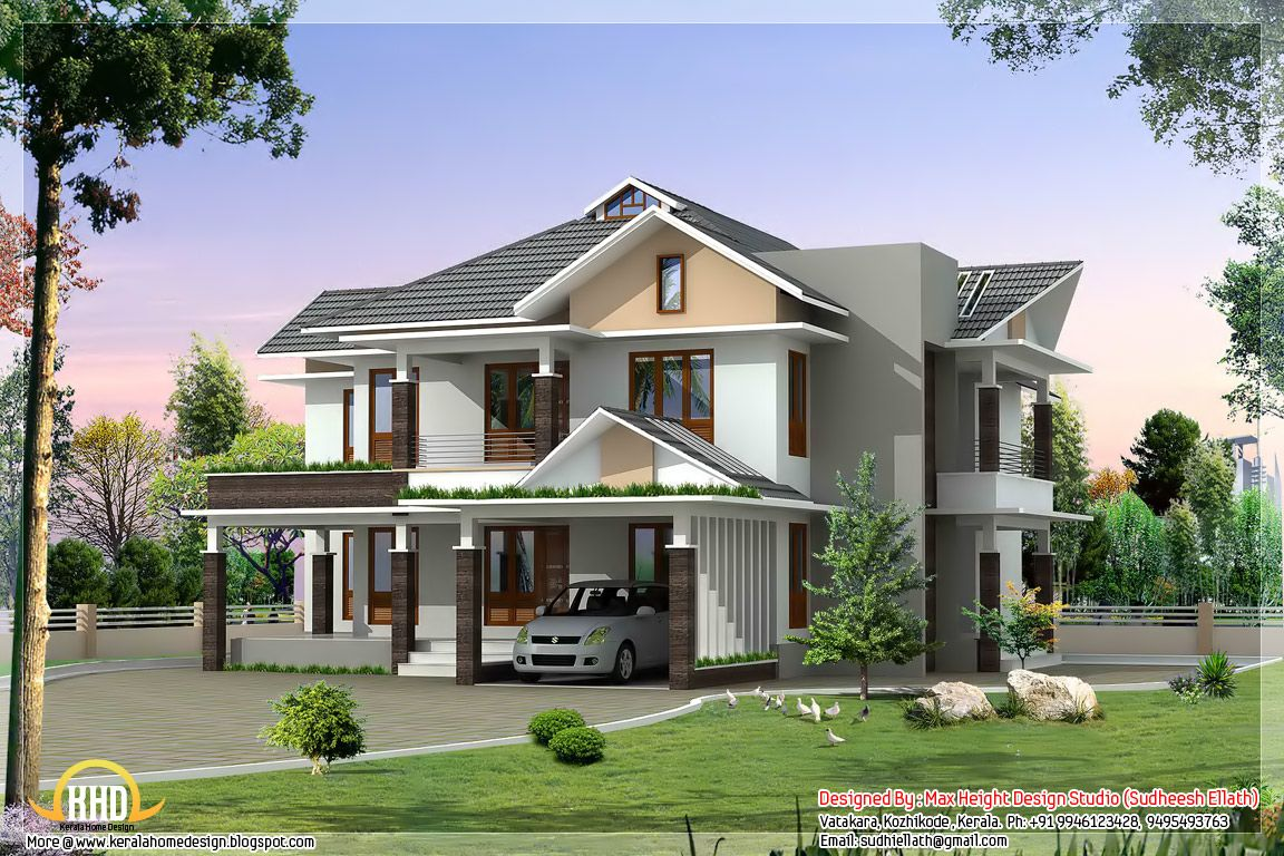 Sq ft ultra modern house elevation kerala home design design studio designer sudheesh ellath Modern home plans 2015
