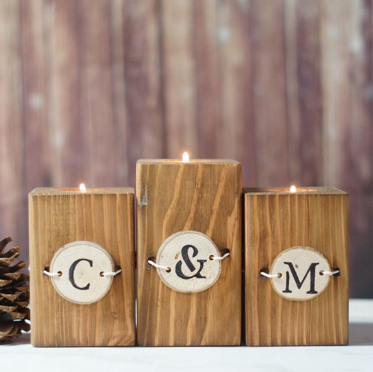 Reclaimed Wood Candle Holder - Personalized Home Decor - Rustic Home
