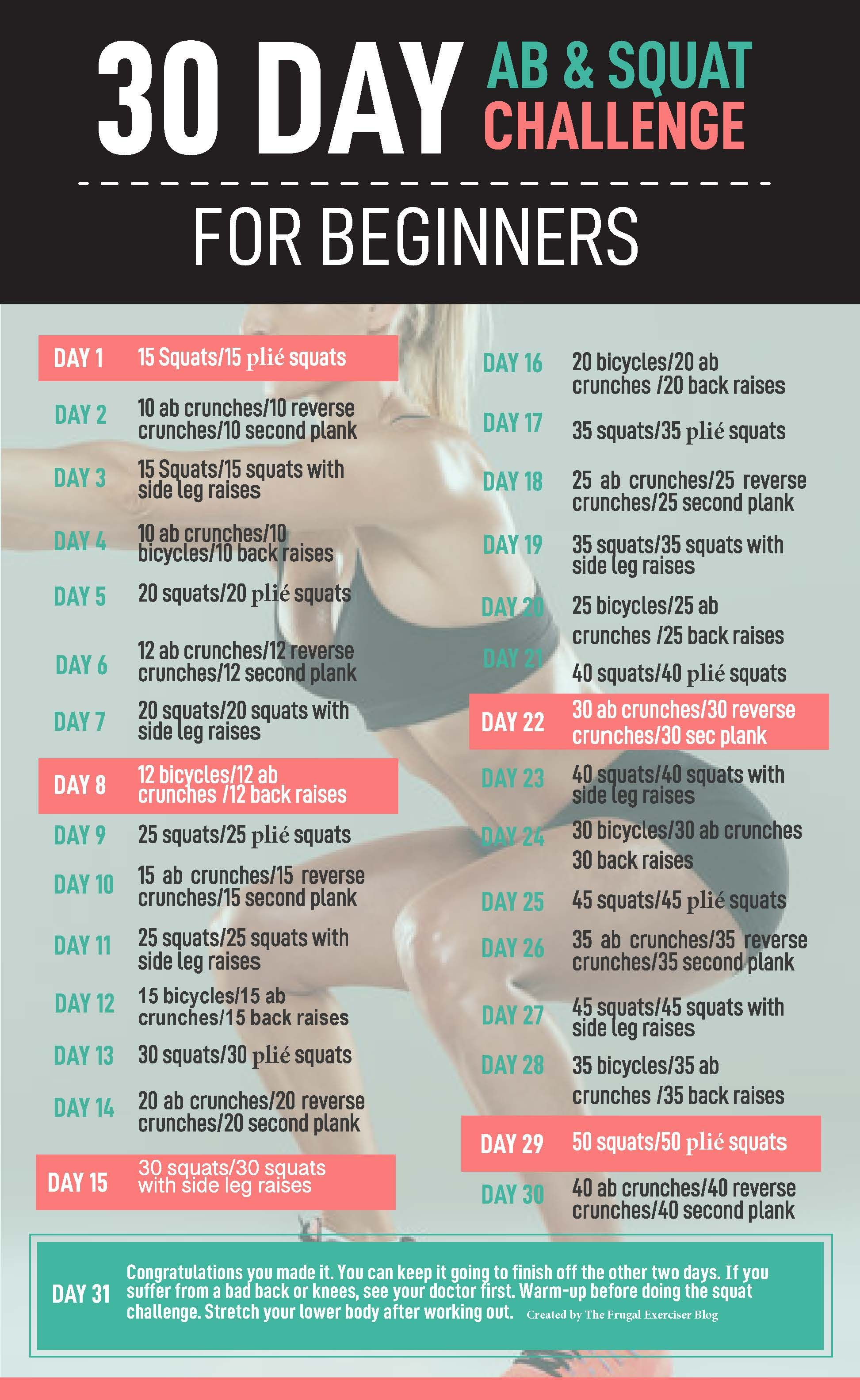 30-day ab and squat challenge for beginners