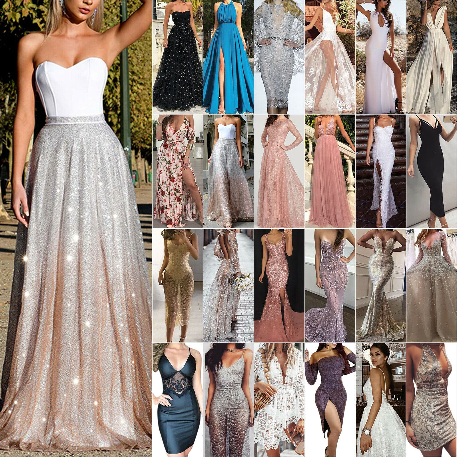 Womens Maxi Dress Evening Party SummerCocktail Prom Gown Ball Beach Sleeveless